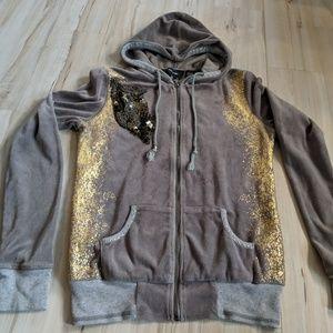 Miss Me womens jacket coat zip sweatshirt M velvet